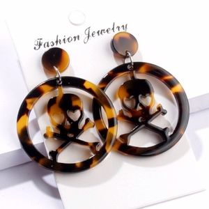 Brown Tortious Skull Laser Cut Resin Earring Boutique